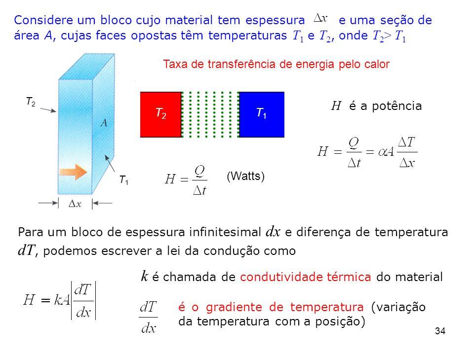 34 k é chamada de condutividade térmica do material Considere um bloco cujo material tem espessura e uma seção de área A, cujas faces opostas têm temperaturas T 1 e T 2, onde T 2 > T 1 T2T2 T1T1 Taxa de transferência de energia pelo calor H é a potência (Watts) Para um bloco de espessura infinitesimal dx e diferença de temperatura dT, podemos escrever a lei da condução como é o gradiente de temperatura (variação da temperatura com a posição) T2T2 T1T1