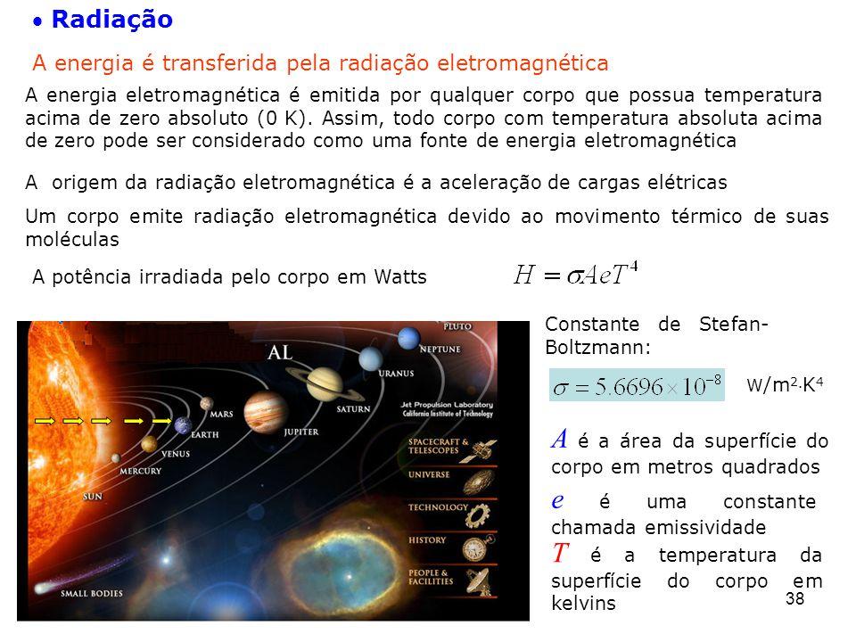 38  Radiação A energia é transferida pela radiação eletromagnética A origem da radiação eletromagnética é a aceleração de cargas elétricas A potência irradiada pelo corpo em Watts Um corpo emite radiação eletromagnética devido ao movimento térmico de suas moléculas W /m 2 K 4 Constante de Stefan- Boltzmann: T é a temperatura da superfície do corpo em kelvins A é a área da superfície do corpo em metros quadrados e é uma constante chamada emissividade A energia eletromagnética é emitida por qualquer corpo que possua temperatura acima de zero absoluto (0 K).