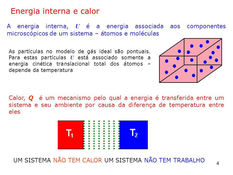 25 2.5 Primeiro Princípio da Termodinâmica Caso especial do princípio da conservação de energia: a única variação na energia dum sistema é a variação na sua energia interna U, e os únicos mecanismos de transferência de energia são o calor Q e o trabalho W Primeiro princípio da termodinâmica Q é a energia transferida para o gás Significa que a variação da energia interna de um sistema, é igual à soma da energia transferida através da fronteira do sistema pelo calor e a energia transferida pelo trabalho -W é o trabalho realizado pelo gás