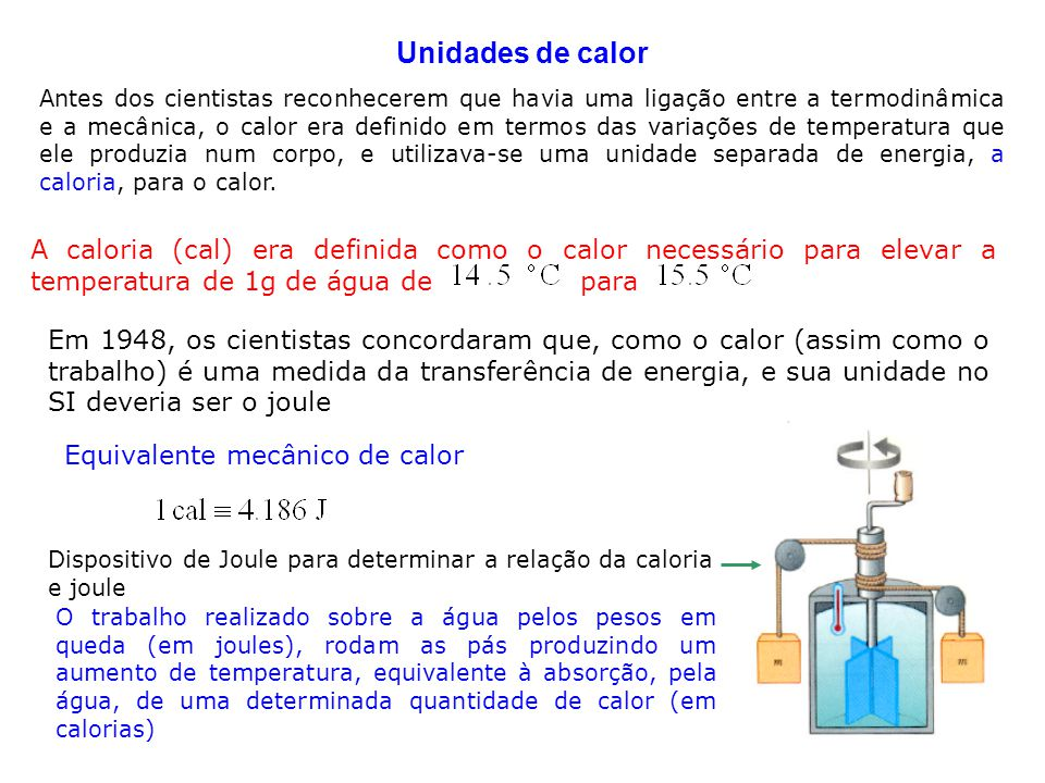 6 2.2 Calor Específico e Calorimetria O calor específico c de um substância é Q é a energia transferida para a massa m de uma substância, fazendo com que a sua temperatura varie de As unidades do calor específico são J/kg·C A energia Q transferida do meio para um sistema de massa m varia a sua temperatura de O calor específico elevado da água comparado com a maioria das outras substâncias comuns (Tabela) é responsável pelas temperaturas moderadas nas regiões próximas de grandes volumes de água