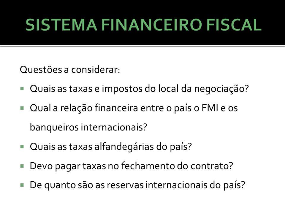 Questões a considerar:  Quais as taxas e impostos do local da negociação?  Qual a relação financeira entre o país o FMI e os banqueiros internaciona