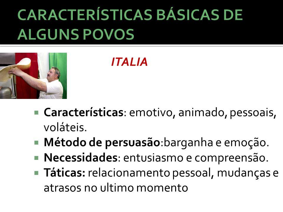  Características: emotivo, animado, pessoais, voláteis.  Método de persuasão:barganha e emoção.  Necessidades: entusiasmo e compreensão.  Táticas: