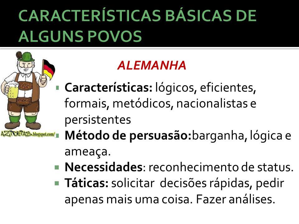  Características: lógicos, eficientes, formais, metódicos, nacionalistas e persistentes  Método de persuasão:barganha, lógica e ameaça.  Necessidad