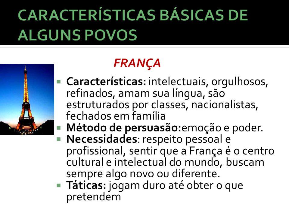  Características: intelectuais, orgulhosos, refinados, amam sua língua, são estruturados por classes, nacionalistas, fechados em família  Método de