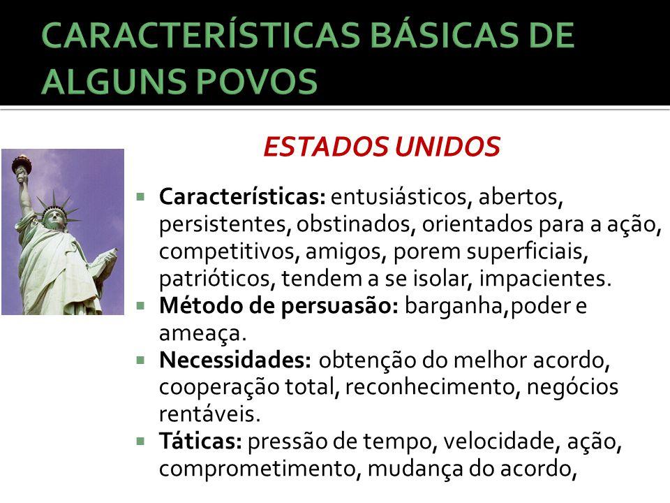  Características: entusiásticos, abertos, persistentes, obstinados, orientados para a ação, competitivos, amigos, porem superficiais, patrióticos, te