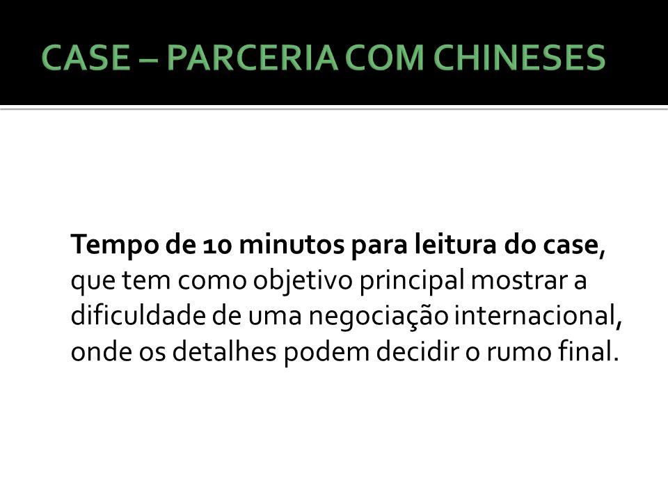 Tempo de 10 minutos para leitura do case, que tem como objetivo principal mostrar a dificuldade de uma negociação internacional, onde os detalhes pode