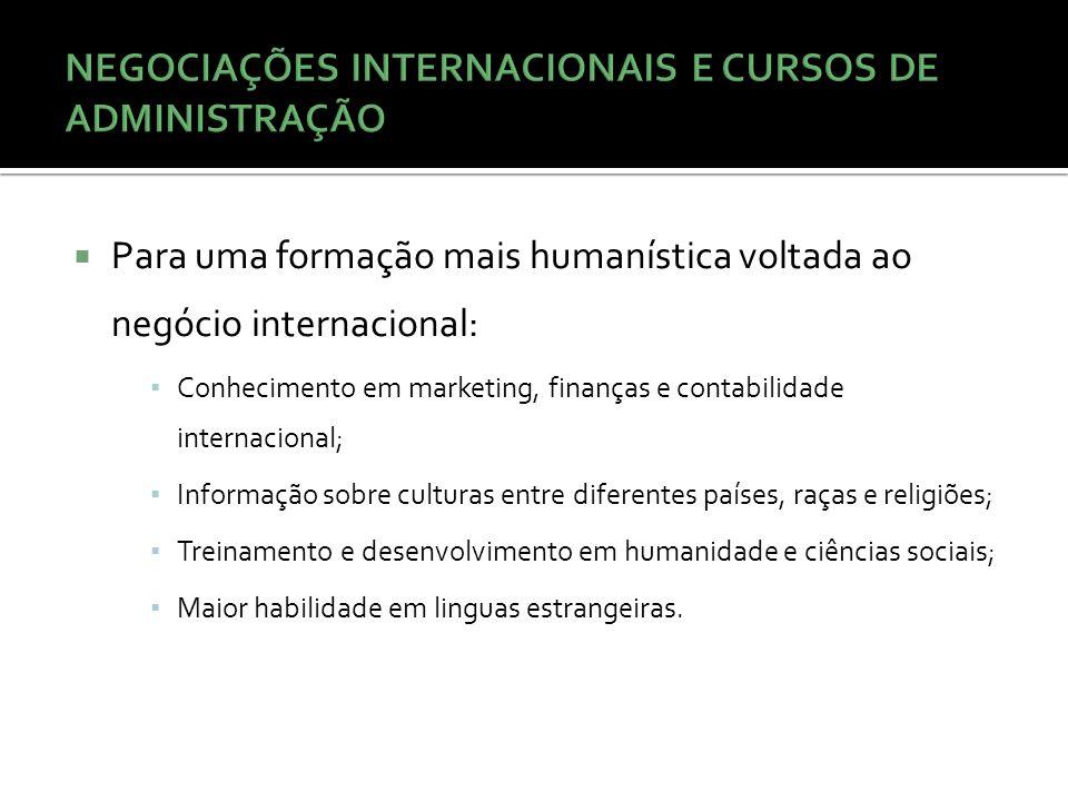  Para uma formação mais humanística voltada ao negócio internacional: ▪ Conhecimento em marketing, finanças e contabilidade internacional; ▪ Informaç