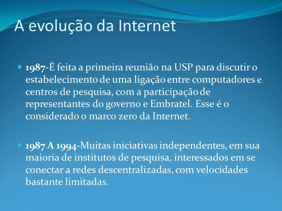 A evolução da Internet 1987-É feita a primeira reunião na USP para discutir o estabelecimento de uma ligação entre computadores e centros de pesquisa,