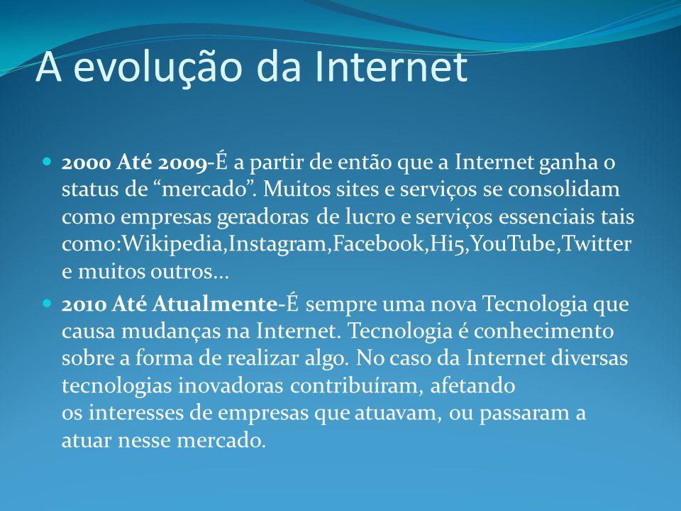 """A evolução da Internet 2000 Até 2009-É a partir de então que a Internet ganha o status de """"mercado"""". Muitos sites e serviços se consolidam como empres"""