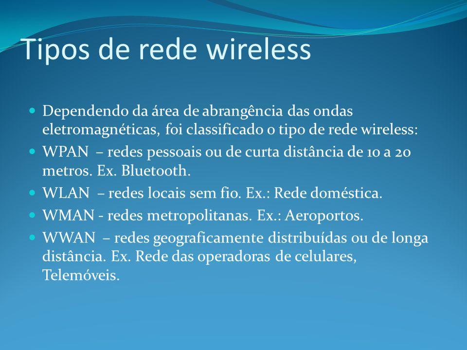 Tipos de rede wireless Dependendo da área de abrangência das ondas eletromagnéticas, foi classificado o tipo de rede wireless: WPAN – redes pessoais o
