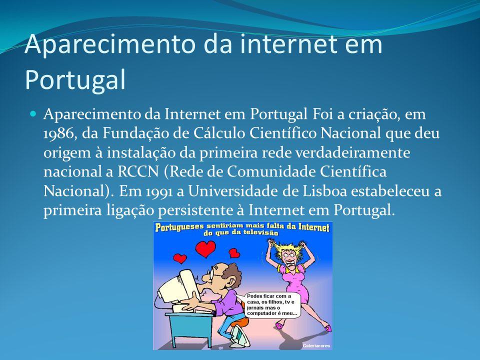 Aparecimento da internet em Portugal Aparecimento da Internet em Portugal Foi a criação, em 1986, da Fundação de Cálculo Científico Nacional que deu o