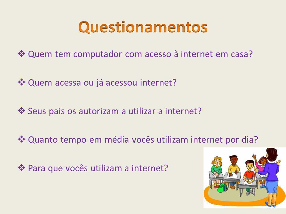  Quem tem computador com acesso à internet em casa?  Quem acessa ou já acessou internet?  Seus pais os autorizam a utilizar a internet?  Quanto te