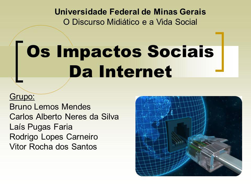 Os Impactos Sociais Da Internet Grupo: Bruno Lemos Mendes Carlos Alberto Neres da Silva Laís Pugas Faria Rodrigo Lopes Carneiro Vitor Rocha dos Santos