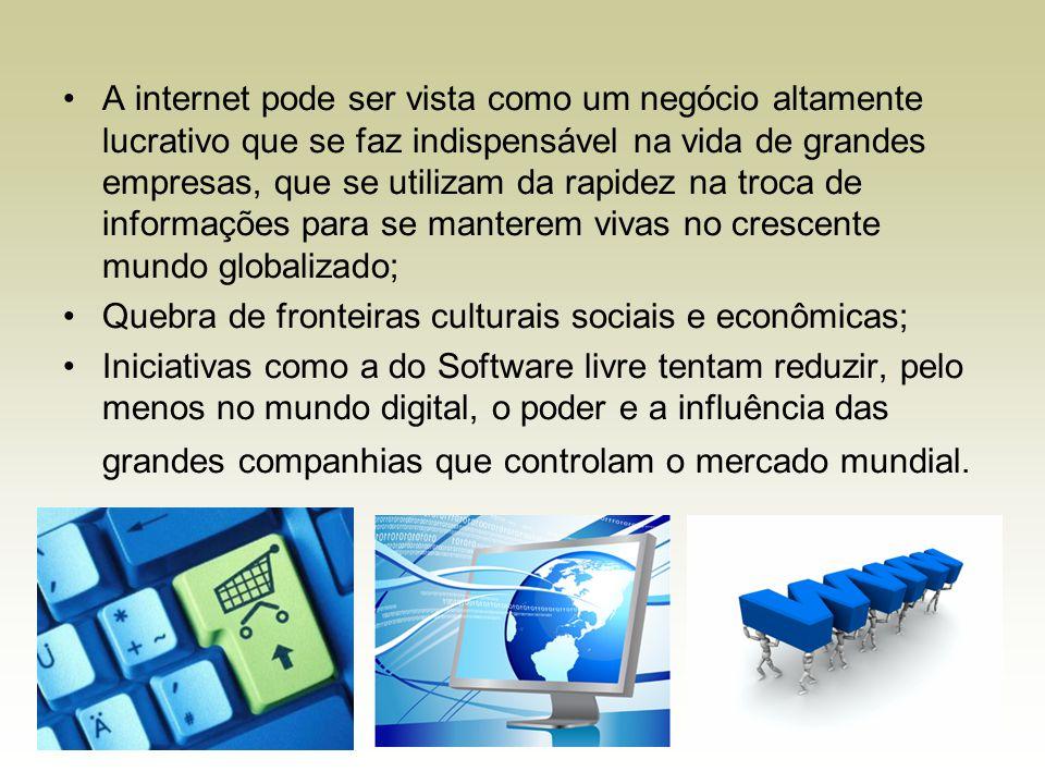 A internet pode ser vista como um negócio altamente lucrativo que se faz indispensável na vida de grandes empresas, que se utilizam da rapidez na troc