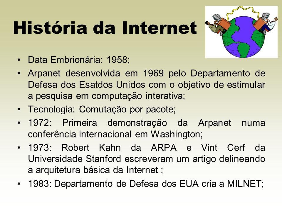 História da Internet Data Embrionária: 1958; Arpanet desenvolvida em 1969 pelo Departamento de Defesa dos Esatdos Unidos com o objetivo de estimular a