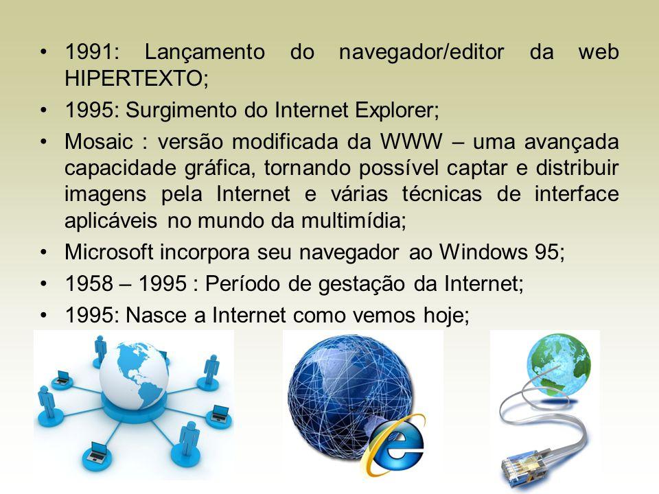 1991: Lançamento do navegador/editor da web HIPERTEXTO; 1995: Surgimento do Internet Explorer; Mosaic : versão modificada da WWW – uma avançada capaci