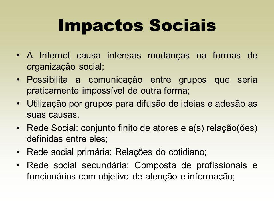 Impactos Sociais A Internet causa intensas mudanças na formas de organização social; Possibilita a comunicação entre grupos que seria praticamente imp