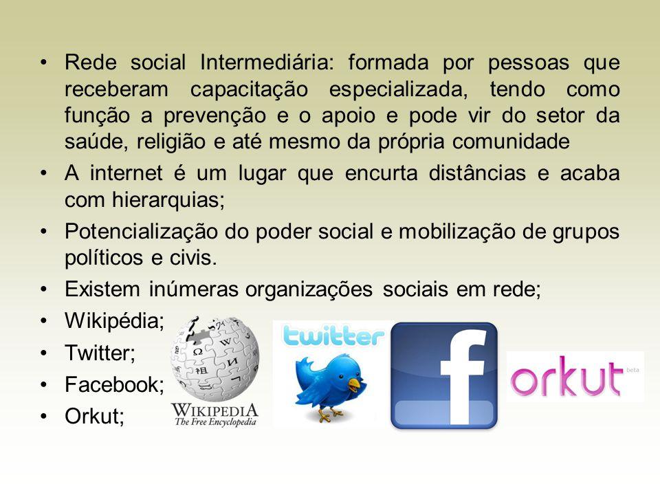 Rede social Intermediária: formada por pessoas que receberam capacitação especializada, tendo como função a prevenção e o apoio e pode vir do setor da