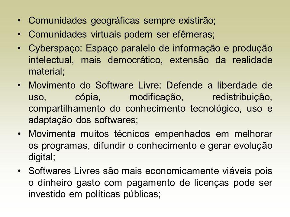 Comunidades geográficas sempre existirão; Comunidades virtuais podem ser efêmeras; Cyberspaço: Espaço paralelo de informação e produção intelectual, m
