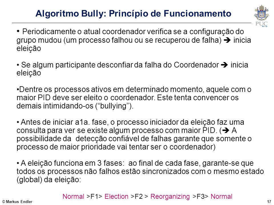 © Markus Endler17 Algoritmo Bully: Princípio de Funcionamento Periodicamente o atual coordenador verifica se a configuração do grupo mudou (um process