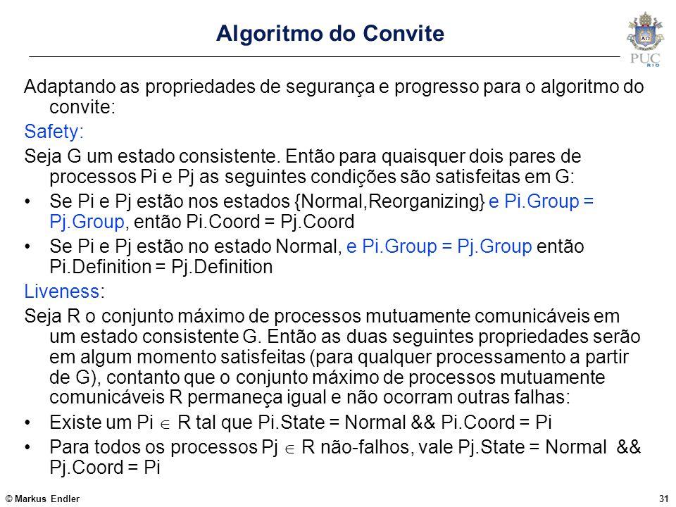 © Markus Endler31 Algoritmo do Convite Adaptando as propriedades de segurança e progresso para o algoritmo do convite: Safety: Seja G um estado consis