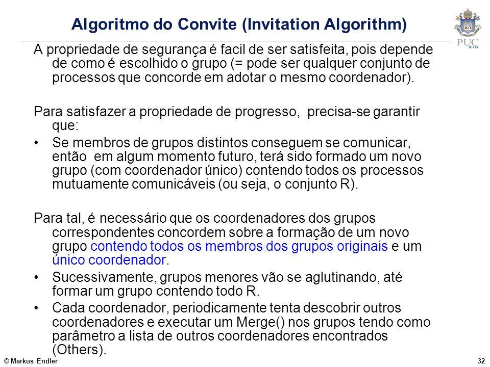 © Markus Endler32 Algoritmo do Convite (Invitation Algorithm) A propriedade de segurança é facil de ser satisfeita, pois depende de como é escolhido o