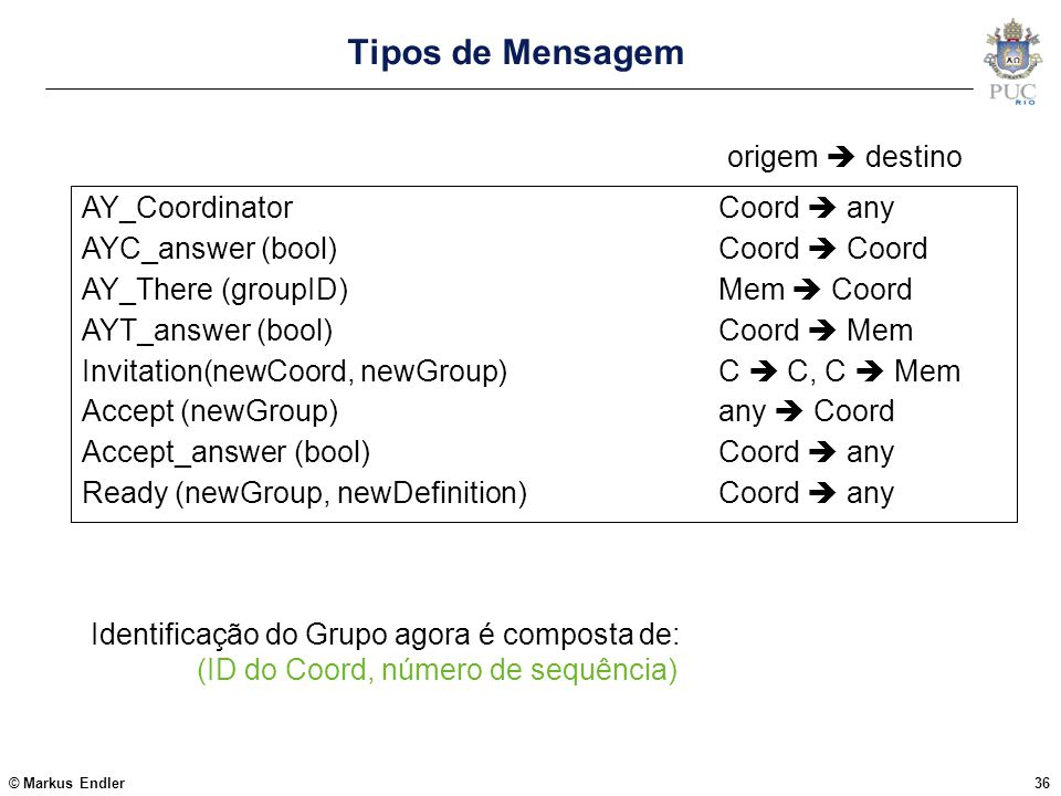 © Markus Endler36 Tipos de Mensagem AY_CoordinatorCoord  any AYC_answer (bool)Coord  Coord AY_There (groupID)Mem  Coord AYT_answer (bool)Coord  Me