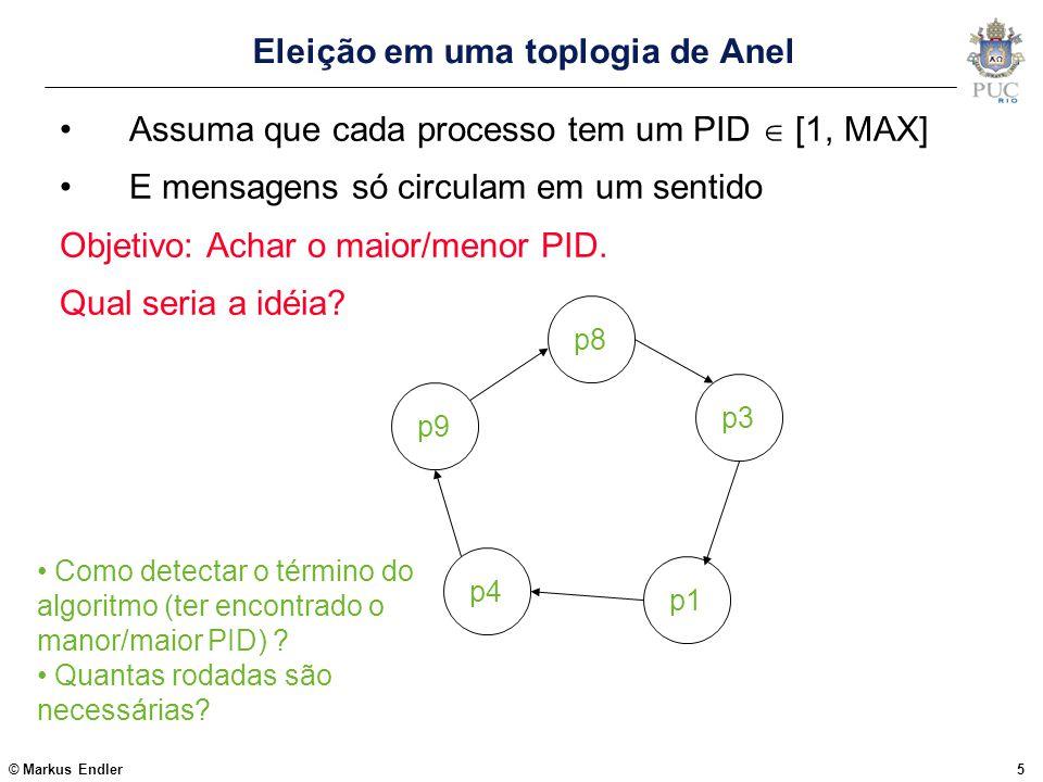 © Markus Endler6 Algoritmos baseados em Anel Chang & Roberts (1979) propuseram um algoritmo simples para processos interligados em uma estrutura lógica de anel (onde as mensagens só circulam em um sentido) O algoritmo funciona em 2 rodadas, para um número arbitrário de processos.