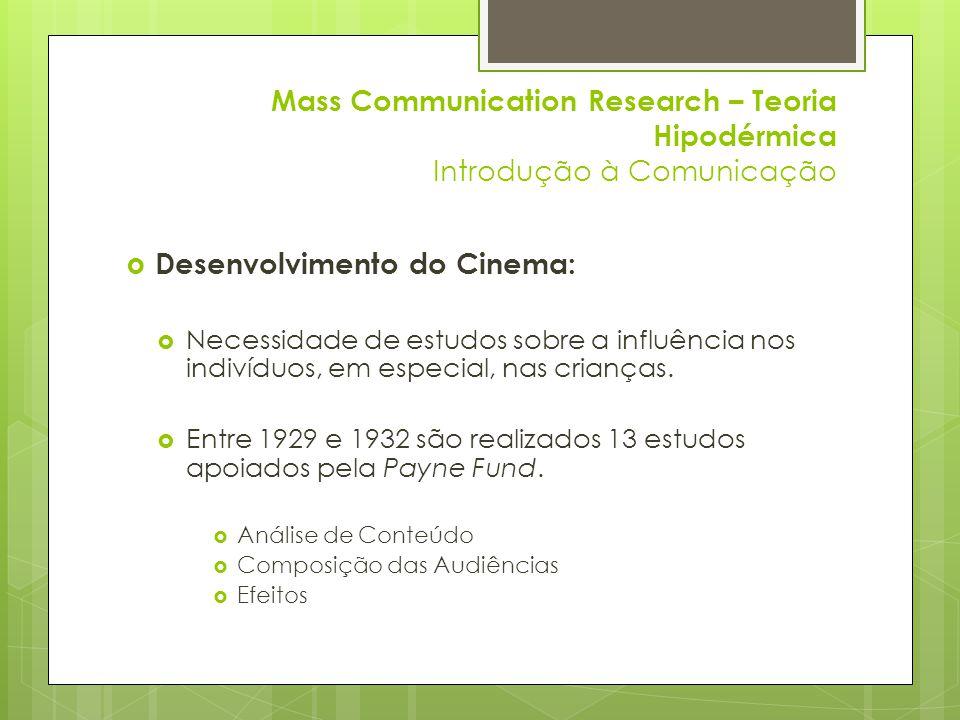 Mass Communication Research – Teoria Hipodérmica Introdução à Comunicação  Desenvolvimento do Cinema:  Necessidade de estudos sobre a influência nos indivíduos, em especial, nas crianças.