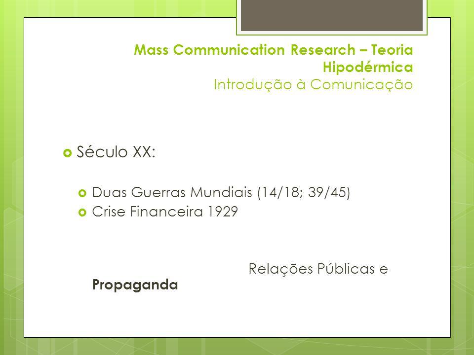 Mass Communication Research – Teoria Hipodérmica Introdução à Comunicação  Século XX:  Duas Guerras Mundiais (14/18; 39/45)  Crise Financeira 1929 Relações Públicas e Propaganda