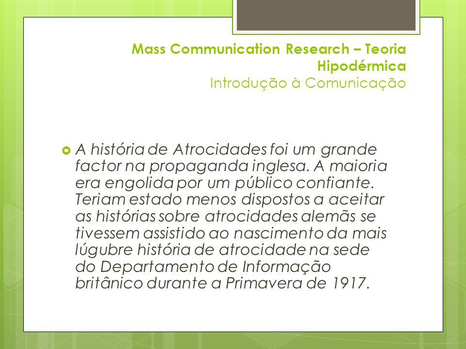 Mass Communication Research – Teoria Hipodérmica Introdução à Comunicação  LEGADO DO MEDO:  1938: A Guerra dos Mundos por Orson Wells.
