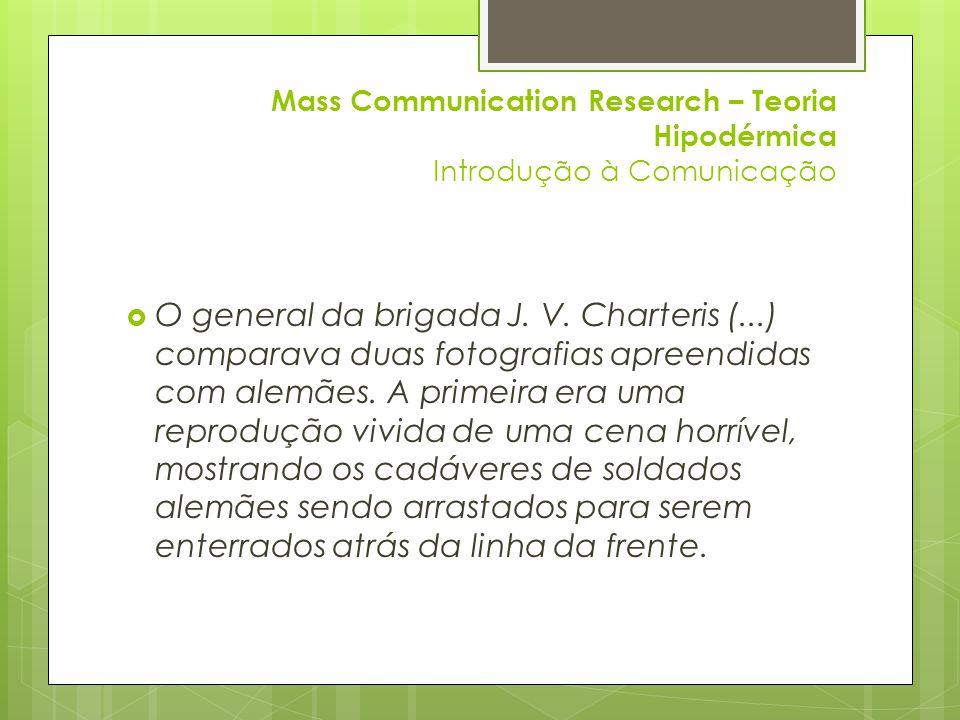 Mass Communication Research – Teoria Hipodérmica Introdução à Comunicação  Bibliografia:  DeFleur, M., Ball-Rokeach, S.
