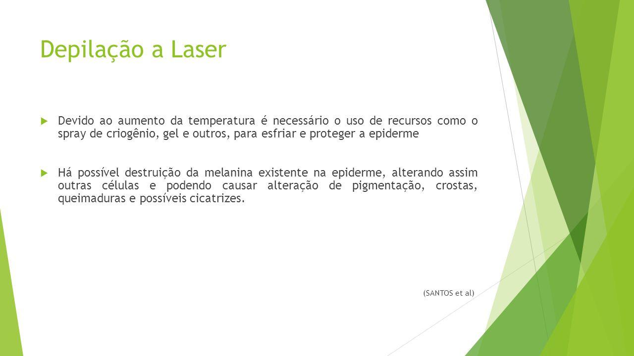 Depilação a Laser  Devido ao aumento da temperatura é necessário o uso de recursos como o spray de criogênio, gel e outros, para esfriar e proteger a