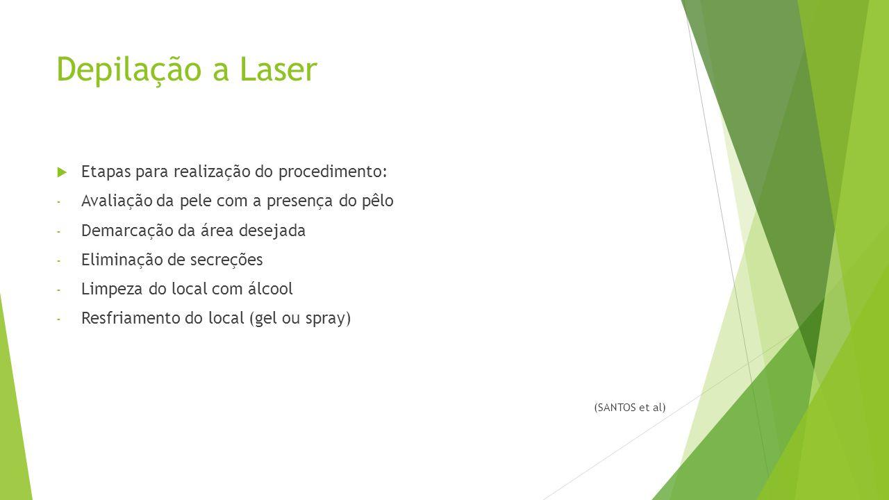 Depilação a Laser  Etapas para realização do procedimento: - Avaliação da pele com a presença do pêlo - Demarcação da área desejada - Eliminação de secreções - Limpeza do local com álcool - Resfriamento do local (gel ou spray) (SANTOS et al)