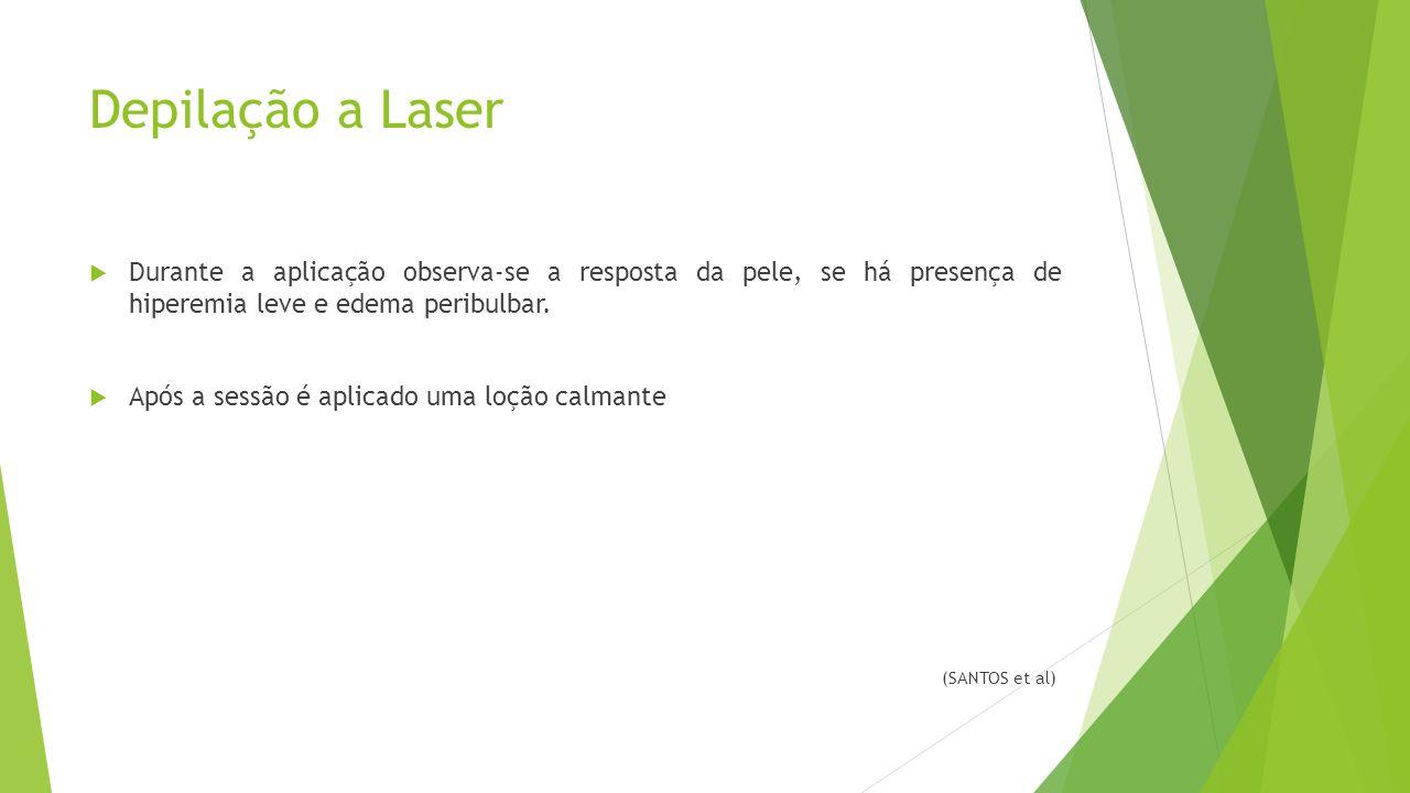 Depilação a Laser  Durante a aplicação observa-se a resposta da pele, se há presença de hiperemia leve e edema peribulbar.  Após a sessão é aplicado