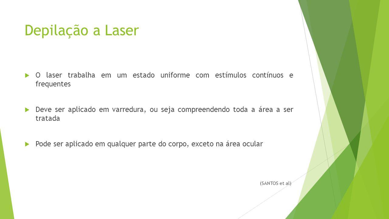 Depilação a Laser  O laser trabalha em um estado uniforme com estímulos contínuos e frequentes  Deve ser aplicado em varredura, ou seja compreendend