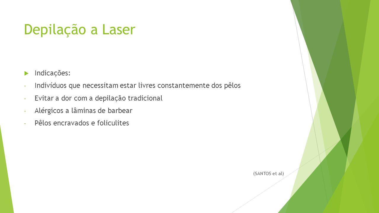 Depilação a Laser  Indicações: - Indivíduos que necessitam estar livres constantemente dos pêlos - Evitar a dor com a depilação tradicional - Alérgicos a lâminas de barbear - Pêlos encravados e foliculites (SANTOS et al)