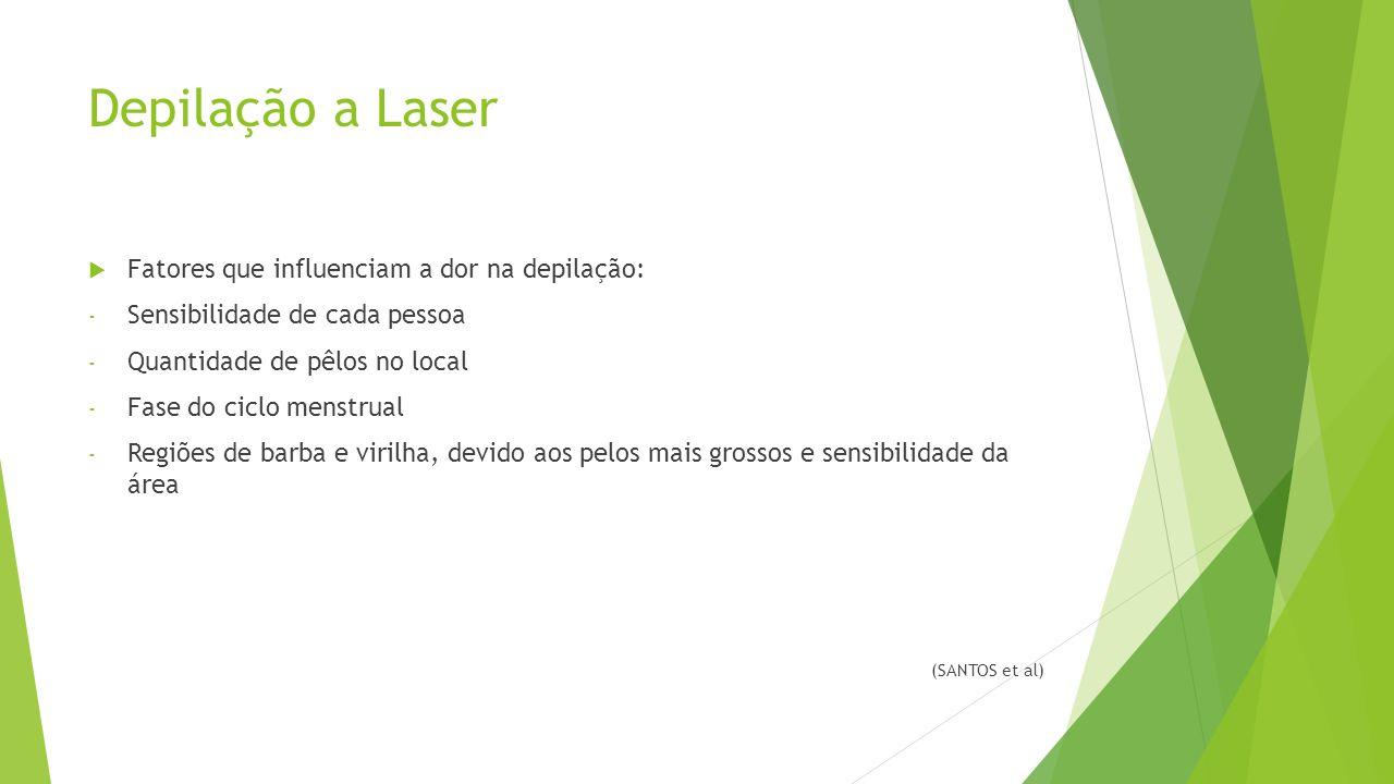 Depilação a Laser  Fatores que influenciam a dor na depilação: - Sensibilidade de cada pessoa - Quantidade de pêlos no local - Fase do ciclo menstrual - Regiões de barba e virilha, devido aos pelos mais grossos e sensibilidade da área (SANTOS et al)