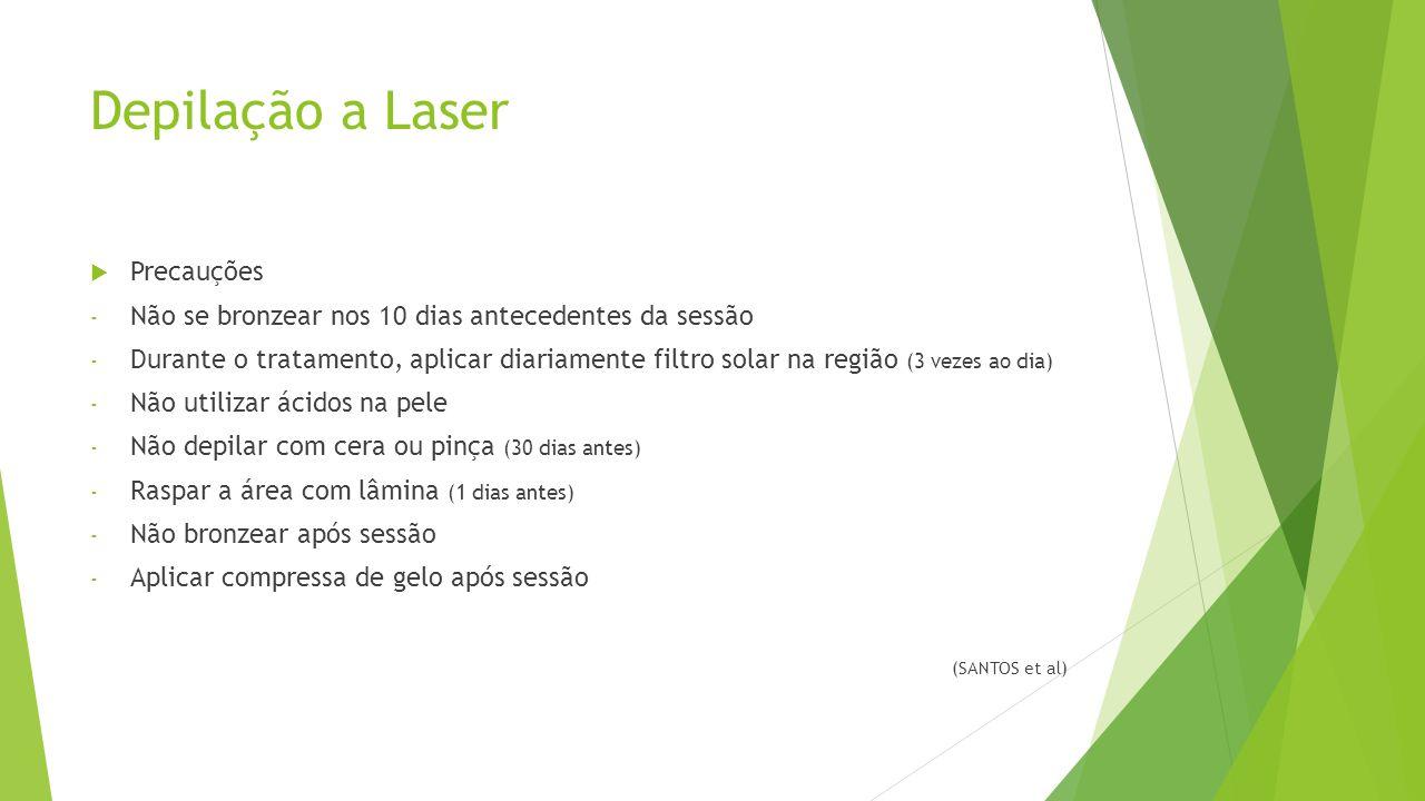 Depilação a Laser  Precauções - Não se bronzear nos 10 dias antecedentes da sessão - Durante o tratamento, aplicar diariamente filtro solar na região