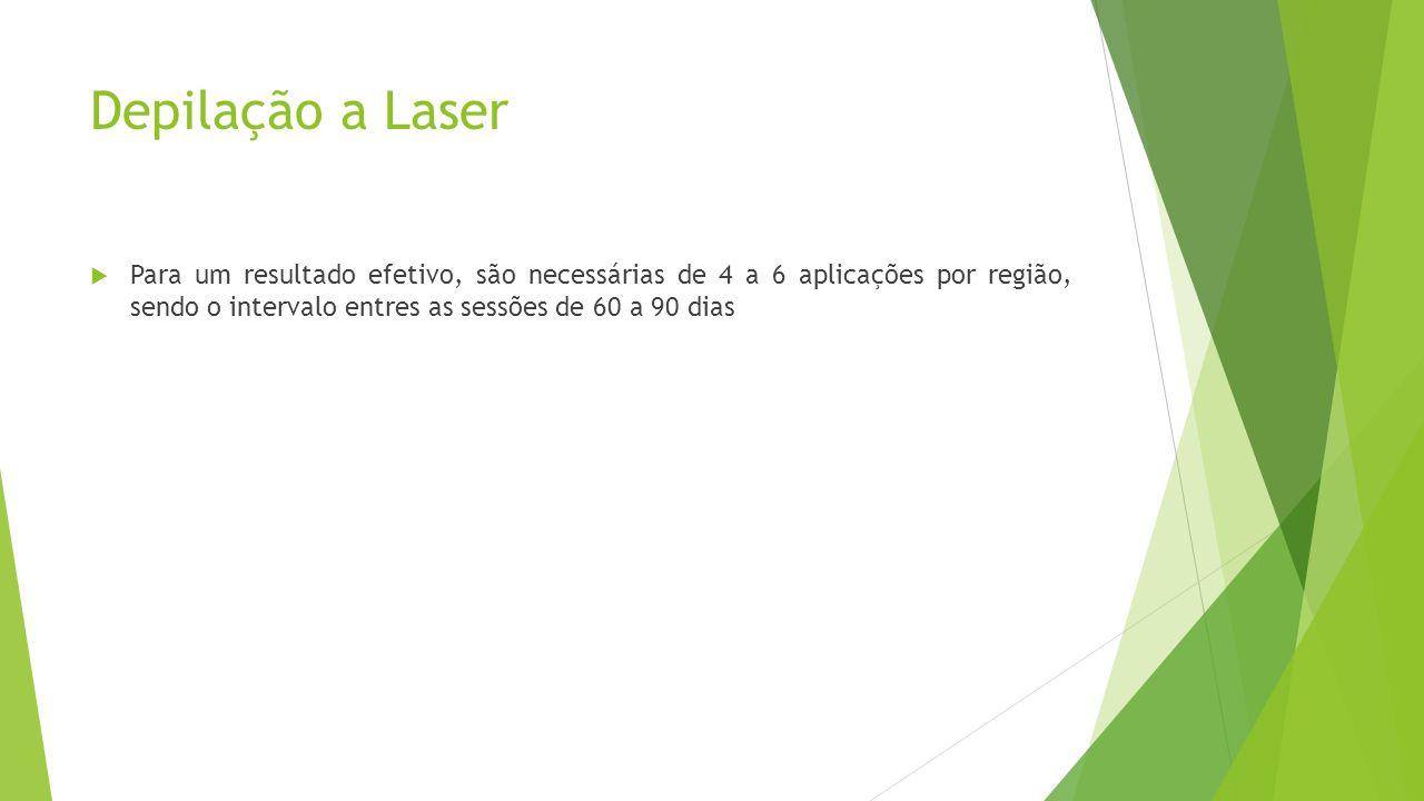 Depilação a Laser  Para um resultado efetivo, são necessárias de 4 a 6 aplicações por região, sendo o intervalo entres as sessões de 60 a 90 dias