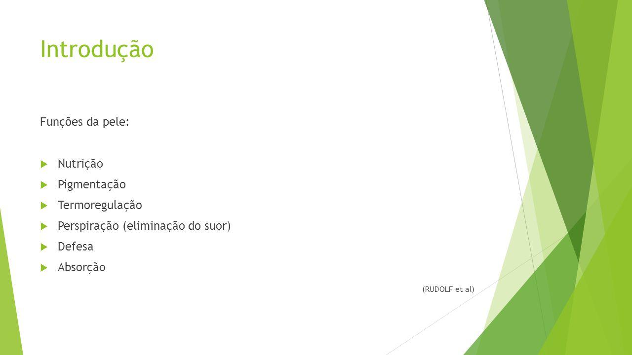 Introdução Funções da pele:  Nutrição  Pigmentação  Termoregulação  Perspiração (eliminação do suor)  Defesa  Absorção (RUDOLF et al)