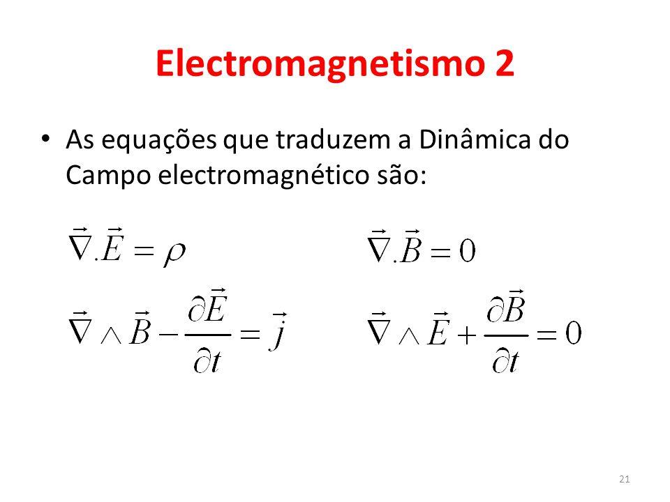Electromagnetismo 2 As equações que traduzem a Dinâmica do Campo electromagnético são: 21