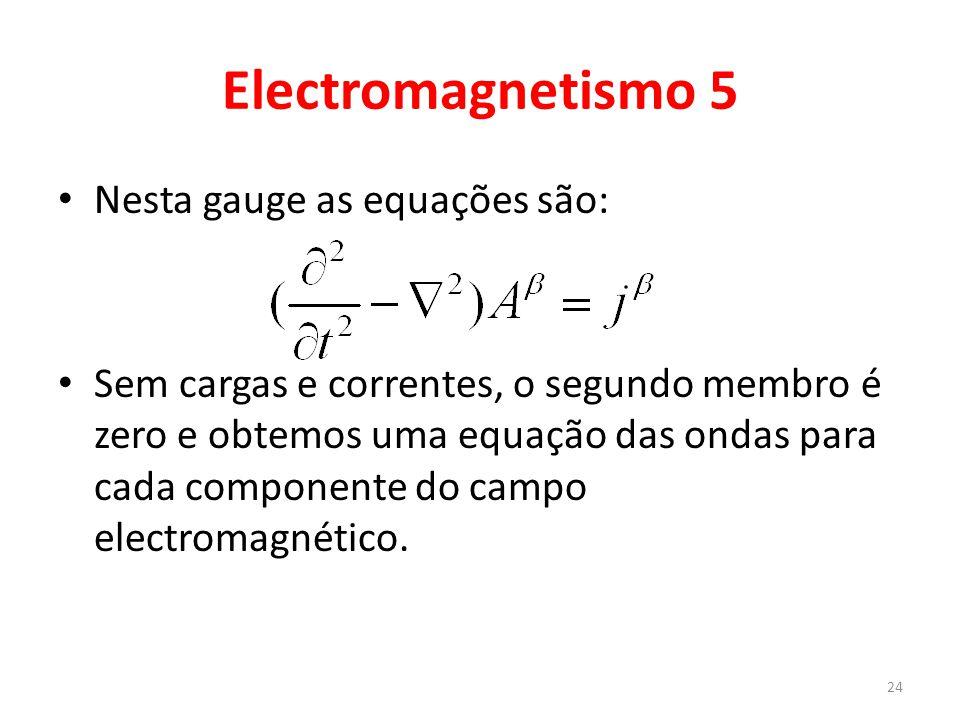 Electromagnetismo 5 Nesta gauge as equações são: Sem cargas e correntes, o segundo membro é zero e obtemos uma equação das ondas para cada componente