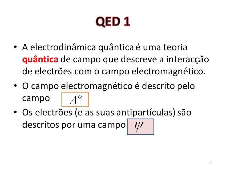A electrodinâmica quântica é uma teoria quântica de campo que descreve a interacção de electrões com o campo electromagnético. O campo electromagnétic