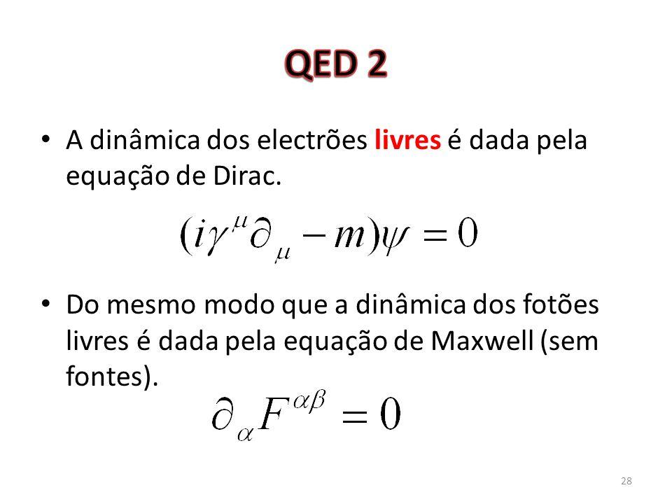 A dinâmica dos electrões livres é dada pela equação de Dirac. Do mesmo modo que a dinâmica dos fotões livres é dada pela equação de Maxwell (sem fonte
