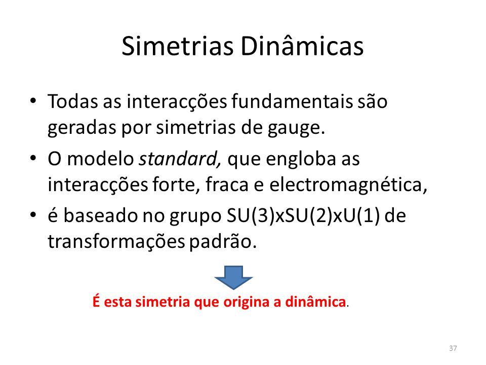 Simetrias Dinâmicas Todas as interacções fundamentais são geradas por simetrias de gauge. O modelo standard, que engloba as interacções forte, fraca e