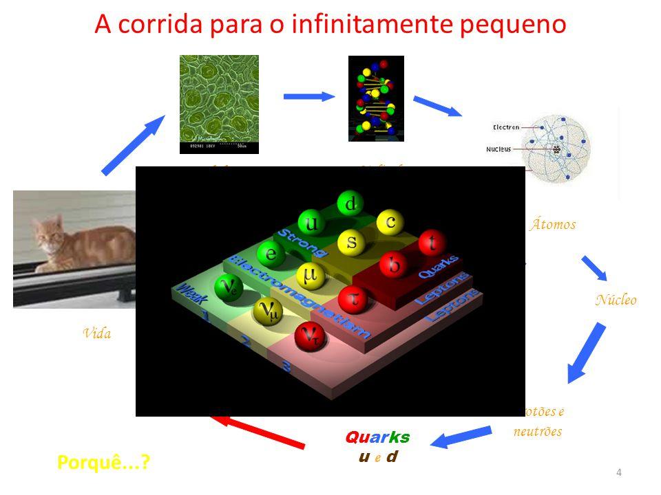 A corrida para o infinitamente pequeno Vida Células Moléculas Átomos Electrões Núcleo Protões e neutrões Neutrinos Quarks u e d TRÊS FAMÍLIAS! Porquê.