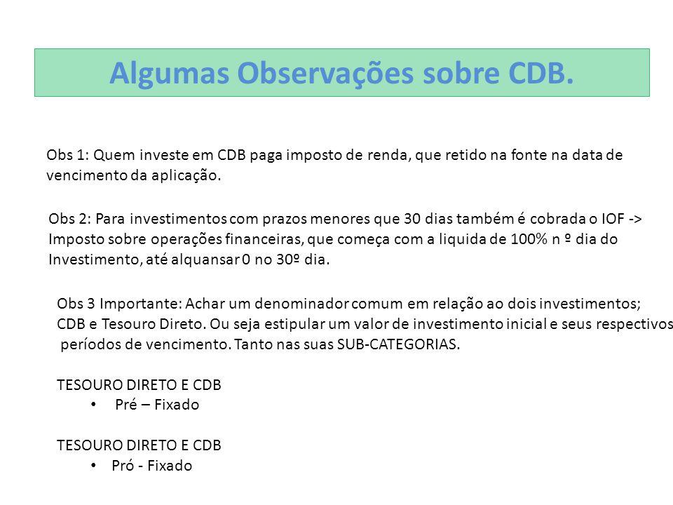 Algumas Observações sobre CDB. Obs 1: Quem investe em CDB paga imposto de renda, que retido na fonte na data de vencimento da aplicação. Obs 2: Para i