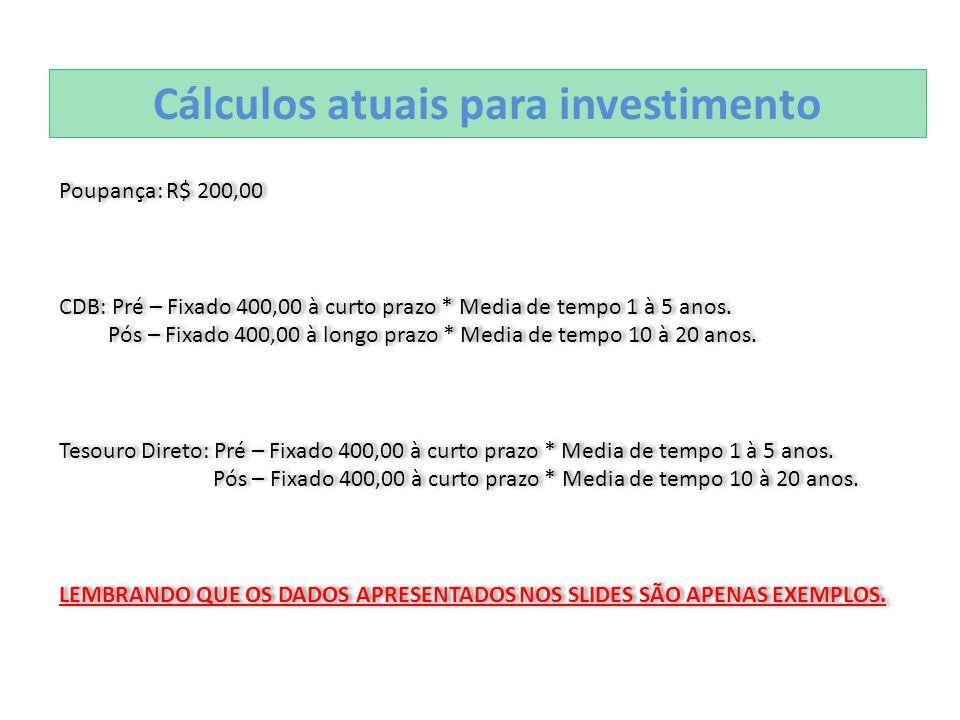 Cálculos atuais para investimento Poupança: R$ 200,00 CDB: Pré – Fixado 400,00 à curto prazo * Media de tempo 1 à 5 anos. Pós – Fixado 400,00 à longo