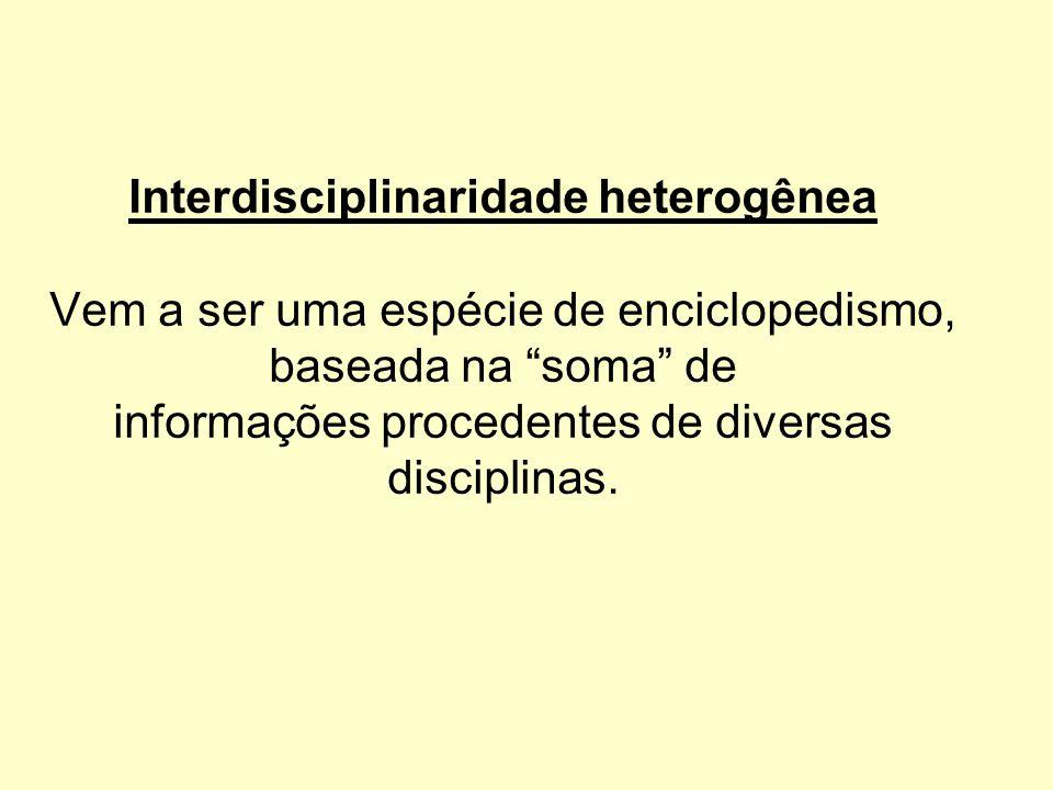"""Interdisciplinaridade heterogênea Vem a ser uma espécie de enciclopedismo, baseada na """"soma"""" de informações procedentes de diversas disciplinas."""